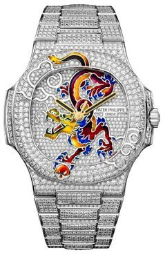 "Maison Patek Philippe ""Dragon"" in 18k White Gold and fully paved."
