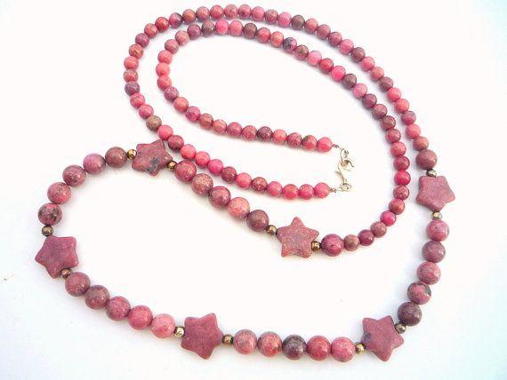 Long Rhodonite gemstone necklace.