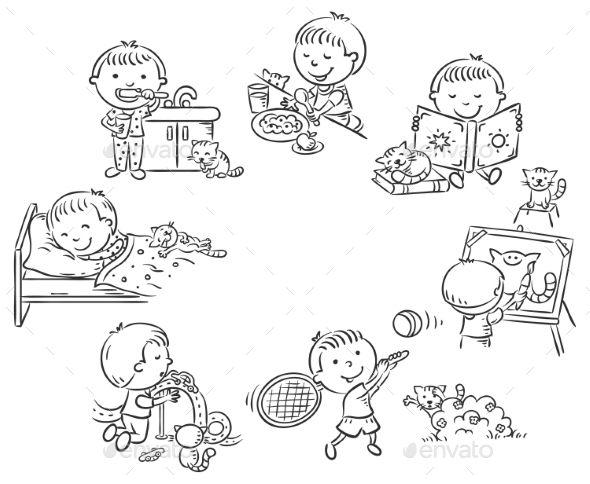 Little Boy S Daily Activities Illustration Art Kids Daily Activities Little Boy Drawing