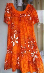 "Hawaiian Muumuu Dress XL 2X Plus Orange White ""Good Times"" Hawaii ..."