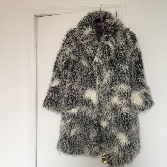 Topshop Fur Coat size 2 Oversized grey and white Topshop fur coat. Size 2 but could fit up to size 6. Small hole in the right pocket (pictured) Topshop Jackets & Coats