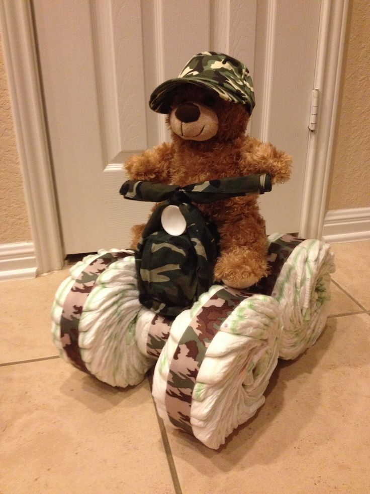 Camo Diaper Cake.  Four wheeler (quad runner)