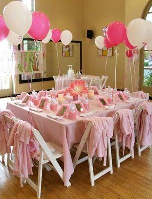 Pretty pink spa party. Love the sweet, simple feel of this one. Would hang a pretty pink banner somewhere.