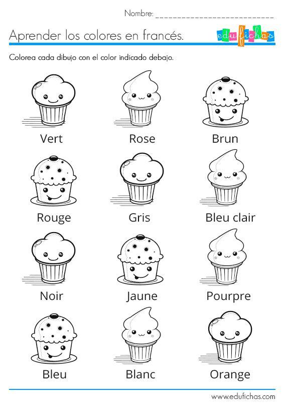 Aprender los colores en francés. Ficha con actividades.