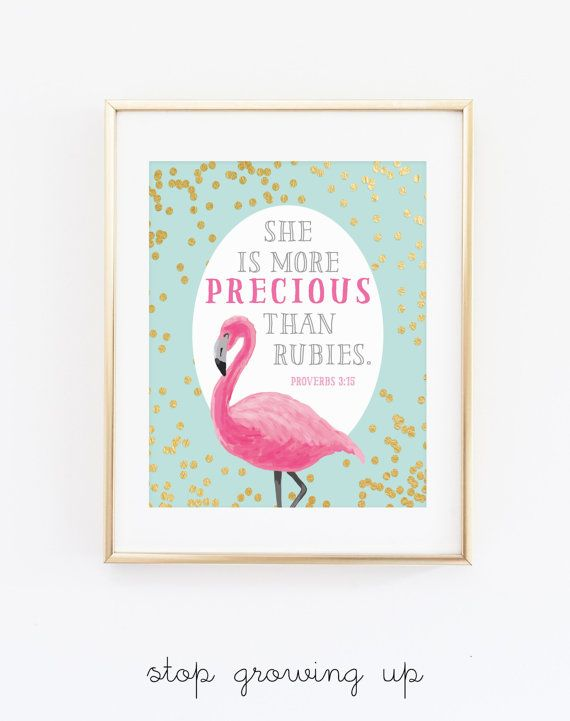 She is More PRECIOUS than Rubies Scripture Wall Art, Pink Aqua Gold Girl Nursery Print, Flamingo Wall Poster, Bible Digital Print - ANY SIZE
