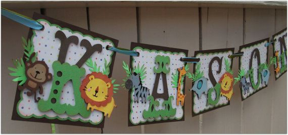 Jungle themed banner for a baby shower.  Boy Name Banner  custom handmade GO GREEN by nadyasworld on Etsy, $35.00
