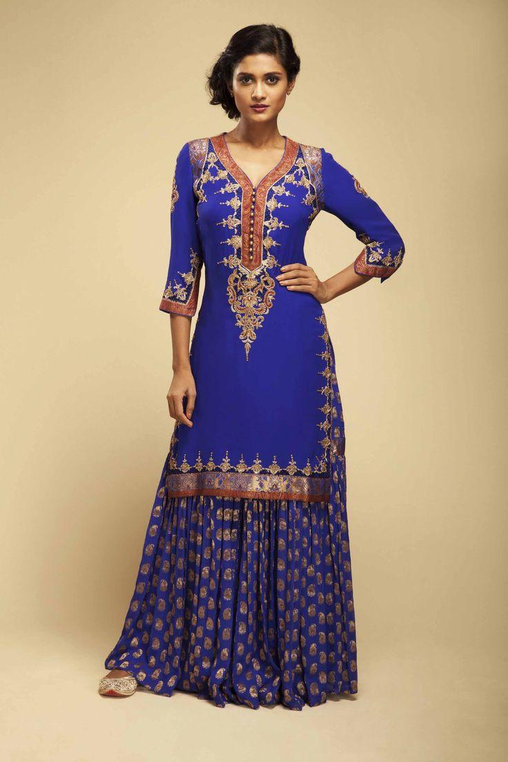 brilliant blue georgette buti garara with matching georgette kurta