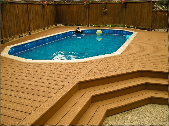 Above ground pool deck with privacy fence deck ideas for Above ground pool privacy ideas
