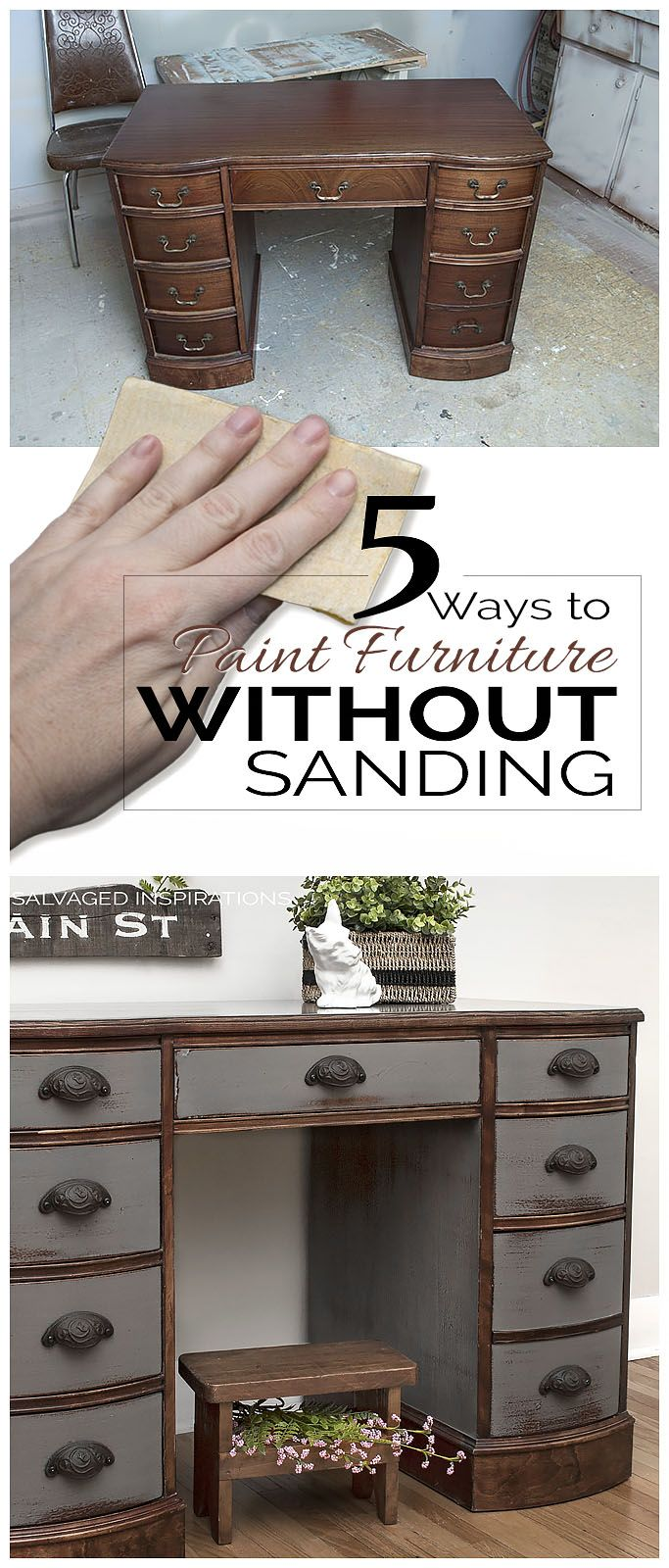 I automatically think of Chalk Paints when I think of no-prep and no-sand, but here are 5 Ways to Paint Furniture WITHOUT Sanding! Good to know. :)