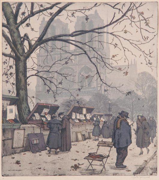 Bukinisté před Notre Dame / Bukinisté in front of Notre Dame, Jaromir Stretti Zamponi. Czech (1882 - 1959)