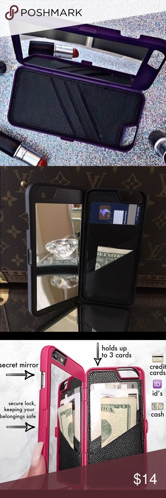 ✨BRAND NEW✨ Secret Mirror & Wallet  Case Pink The perfect iPhone case to store your cards and ID's!✨ Enclosed with a secret mirror so you can check your make up! Also Holds Credit Cards, ID's and cash comfortably. Protects the back and sides of your phone. Available for iPhone 6/6S in PINK. Brand new! No Trade! Price is firm Accessories Phone Cases