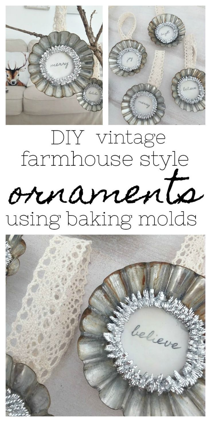 Come and get inspired to make these DIY vintage farmhouse style baking tin ornaments to decorate your tree with as well as more Holiday Ornament inspiration