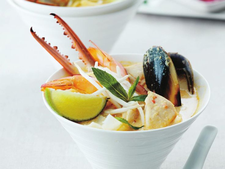 This is a super-lux version of seafood laksa, stuffed with crab claws, mussels, squid and prawns, all smothered in a fragrant, spiced laksa broth.