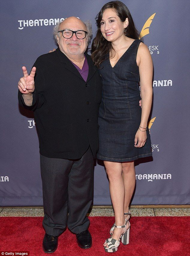 They come in peace: Danny DeVito flashed a V-sign as he posed with daughtrer Lucy at the Drama Desk Awards in New York on Sunday