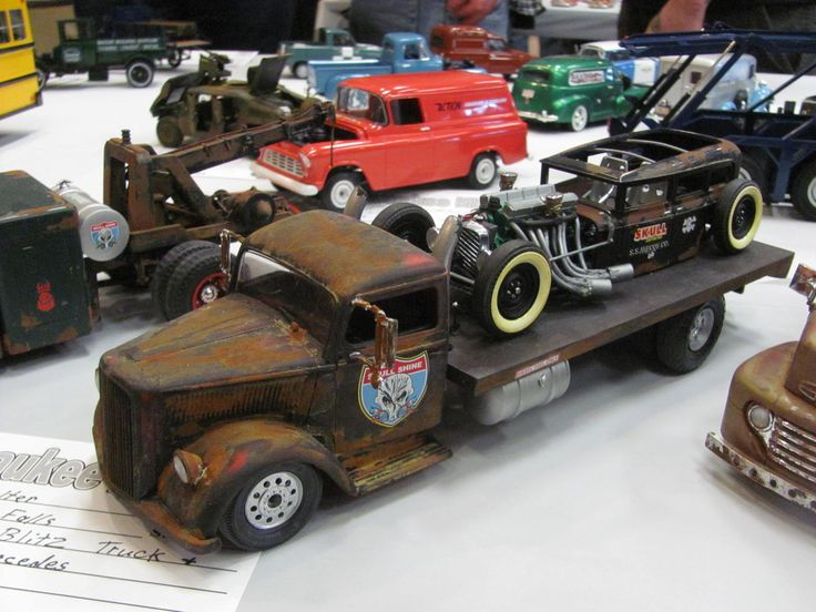 Rat Rod And Carrier Truck Plastic Model Cars Lowrider