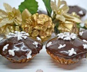 Новогодние мини капкейки с шоколадом. Рецепт с пошаговыми фото