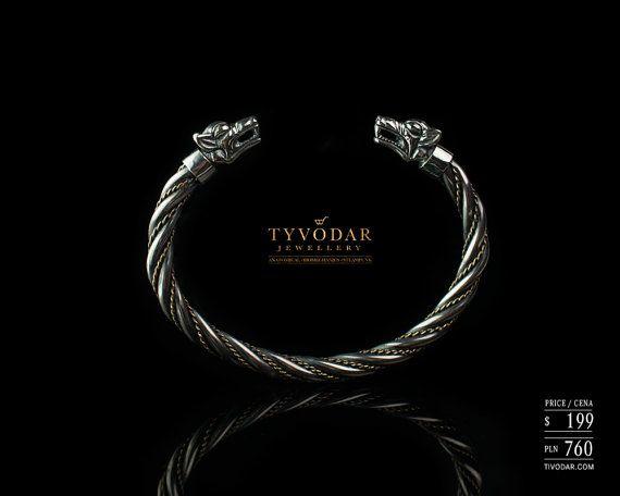 Fenrir silver Viking bracelet with wolf heads   silver by TYVODAR