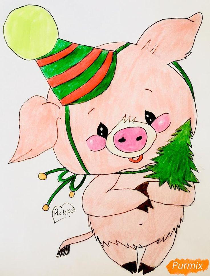 Новогодняя открытка срисовать год свинью