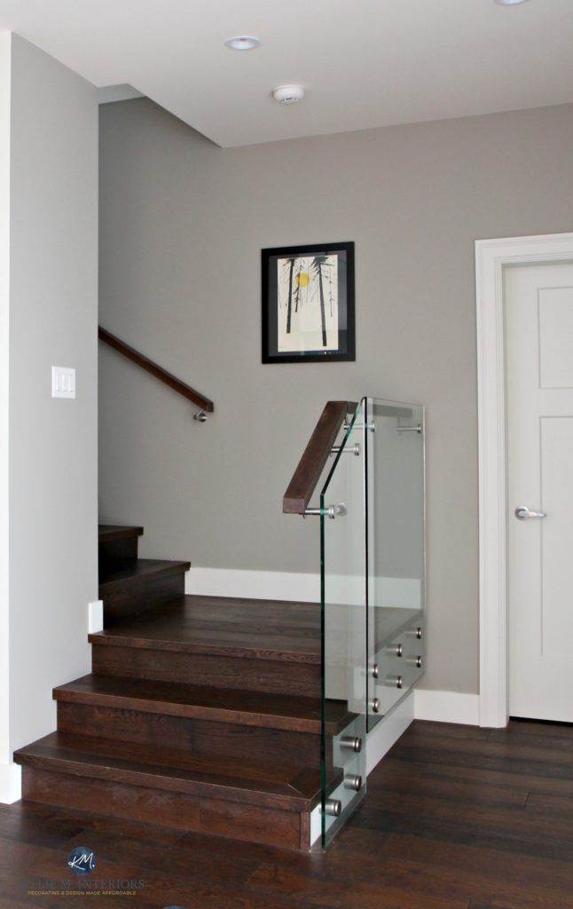 Sherwin Williams Dorian Gray In Contemporary Stairwell With Gl And Dark Wood Kylie M Interiors Decorating Design Online Color Consulting Services