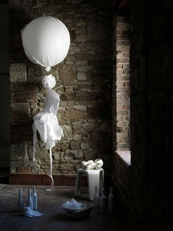 Beautiful interiors still life photoshoot inspired by the etherial nature of muslin, styled by Lara Hutton, photographed by Jason Loucas, balloons from Bespoke Balloonery #interiors #stilllife #muslin #balloons #larahutton #jasonloucas #bespokeballoonery interior design exposed brick