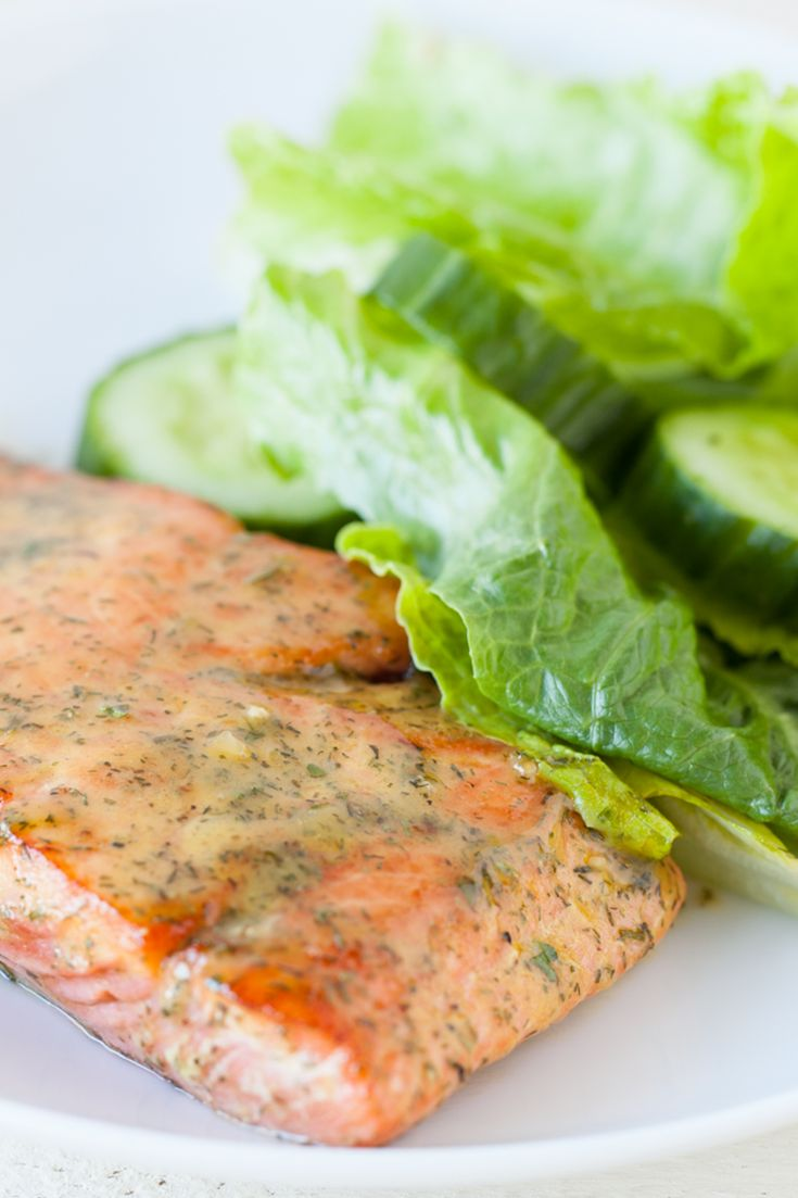 "#Epicure ""Dillicious"" Honey Mustard Salmon Fillets (170 calories/serving)"