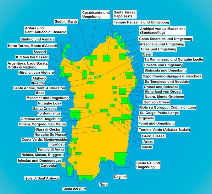 Karte Sehenswürdigkeiten Sardinien