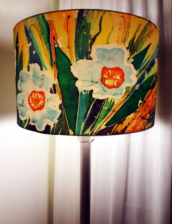 Handpainted Fabric/Textile. Modern Batik Style. Large Lamp Shade Drum/Pendant Lampshade. Great Decor for Children Room. Handmade.. $165.00, via Etsy.
