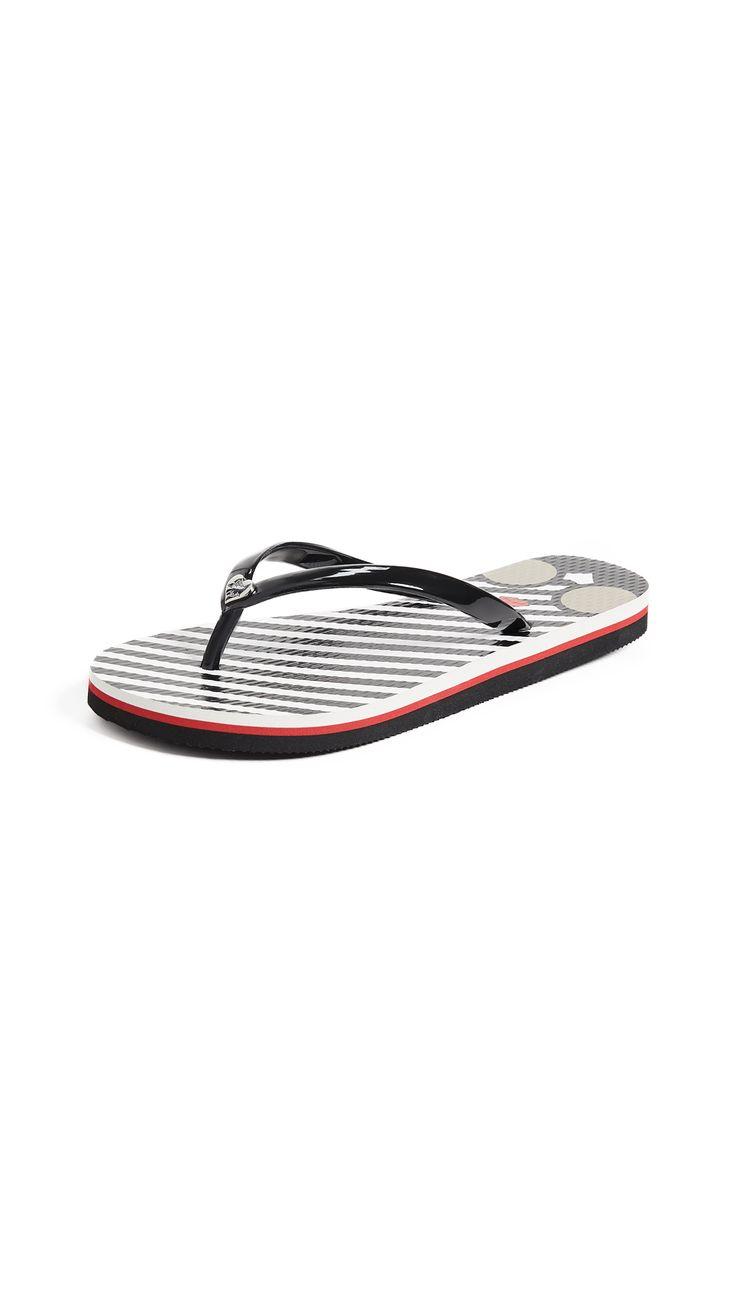 ALICE AND OLIVIA EVA STRIPED FLIP FLOPS. #aliceandolivia #shoes #