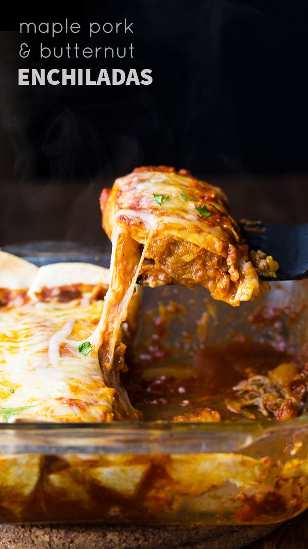 Maple Pork and Butternut Squash Enchiladas (slow cooker), an easy weeknight dinner recipe ready in 45 minutes Denise | Sweet Peas & Saffron