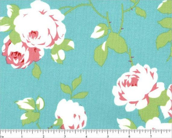 Chloe Rose Vine in Green by Tanya Whelan for Free Spirit.  This pretty rose print quilting cotton fabric is available on etsy (affiliate link).