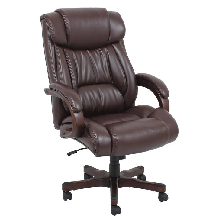 Barcalounger Wood and Bonded Leather Executive Chair