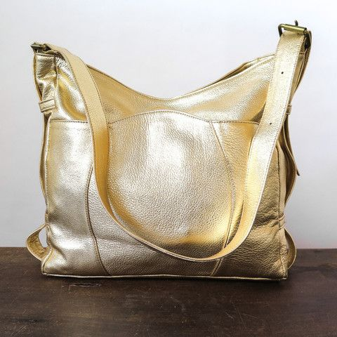metallic leather buckle bag with adjustable strap and snap closure, made in california