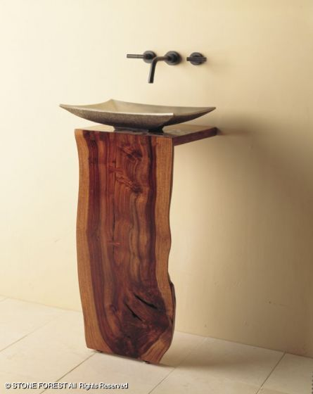 "unique organic-looking pedestal sink from Stone Forest - the ""Wood L-Slab Pedestal"""