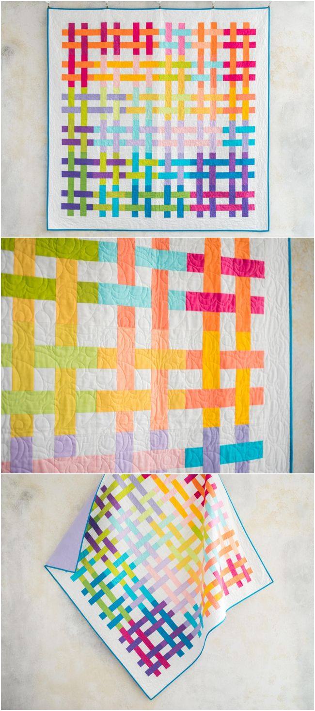 Weave It Be Solids Vibrant Quilt Kit by Craftsy.  Features Boundless   solids fabrics.  Jelly roll pre-cuts make this a fast and easy quilt.    #jellyrollquilt #solidsquilt #rainbowquilt affiliate link.