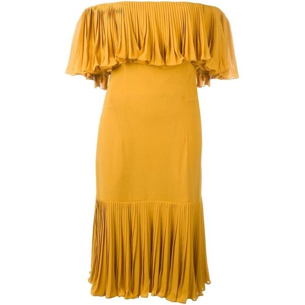 Jean Louis Scherrer Vintage Off the Shoulder Dress (19 795 UAH) ❤ liked on Polyvore featuring dresses, jean-louis scherrer, yellow pleated dress, vintage cocktail dress, off the shoulder cocktail dress and vintage silk dress