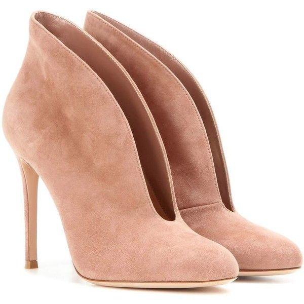 Gianvito Rossi Vamp Suede Peep-Toe Ankle Boots ($820) ❤ liked on Polyvore featuring shoes, boots, ankle booties, neutrals, suede bootie, beige booties, ankle boots, peep toe bootie and suede ankle booties
