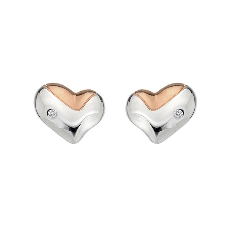 Stříbrné náušnice Hot Diamonds Lunar Heart Gold