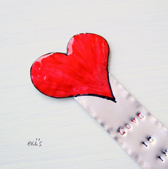 Hand Painted Red Valentine's Heart Hand by EVIsMetalworkJewelry, €9.00