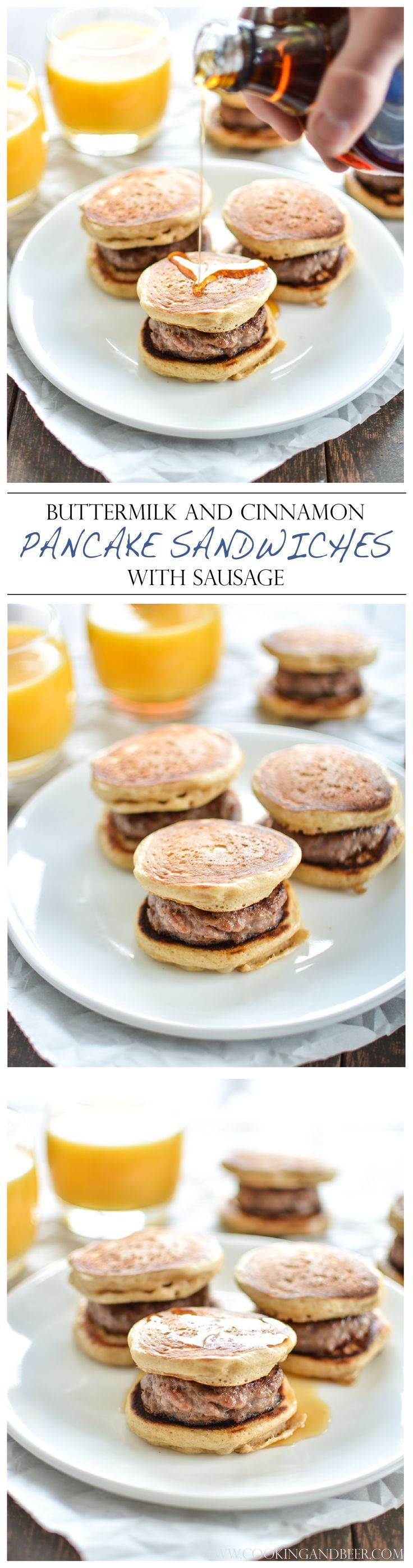 Buttermilk and Cinnamon Mini Pancake Sandwiches with Sausage   www.cookingandbeer.com   @jalanesulia