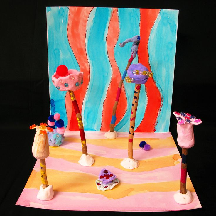Fantasy Forest - sculpture using drift wood, paper clay, craft materials and cardboard. Focus on composition, colour and 3D form. Inspired by Dr Suess and artists Pip and Pop. Years 3 and 4
