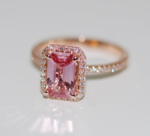 On hold till Feb 1st - upgraded setting Padparadscha sapphire ring emerald cut 1.48ct sapphire diamond ring 14k rose gold engagement ring