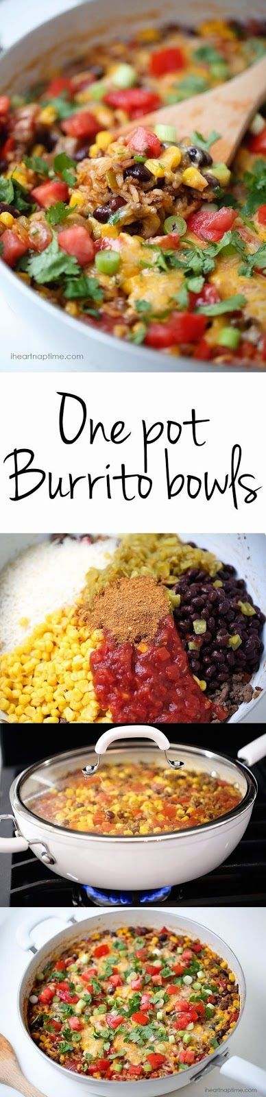 One Pot Burrito Bowls - looks easy and delicious! @iheartnaptime