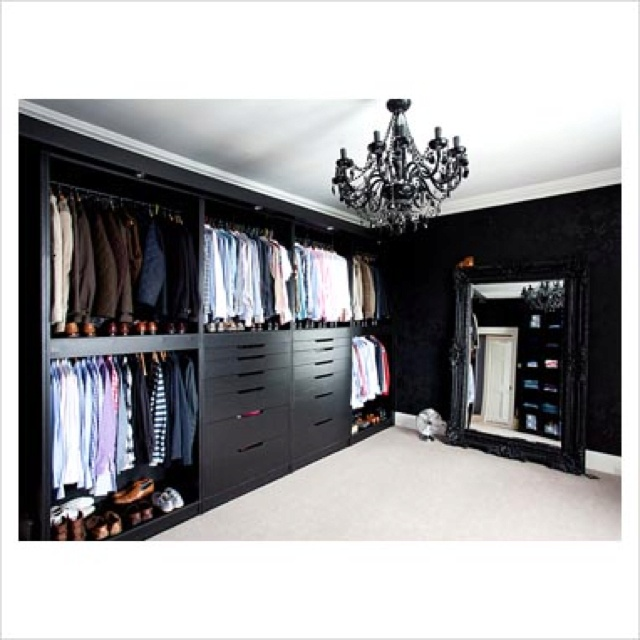 Black Dressing Room Beautiful Black Chandelier Closet Modern White Contrast  Two Toned