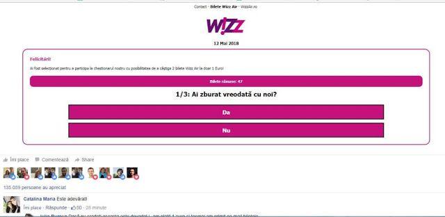 Escrocherie cu bilete Wizz Air la 1 euro
