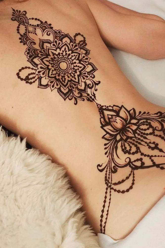 Alternative Idea On How To Introduce Flowers I Definitely Would Like Realistic And Henna Style Mixed Henna Tattoo Designs Back Henna Henna Body Art