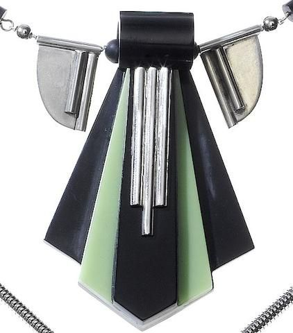 An Art Deco green and black galalith and chrome necklace Jakob Bengel, circa 1930