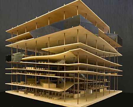 Rem koolhaas oma tres grande bibliotheque wooden scale model of library jussieu france - Bibliotheques ontwerp ...
