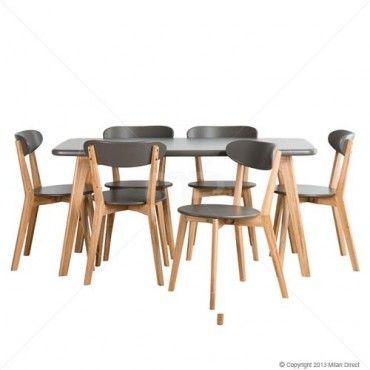 Oslo 7pce Dining Set - Graphite Grey - Milan Direct