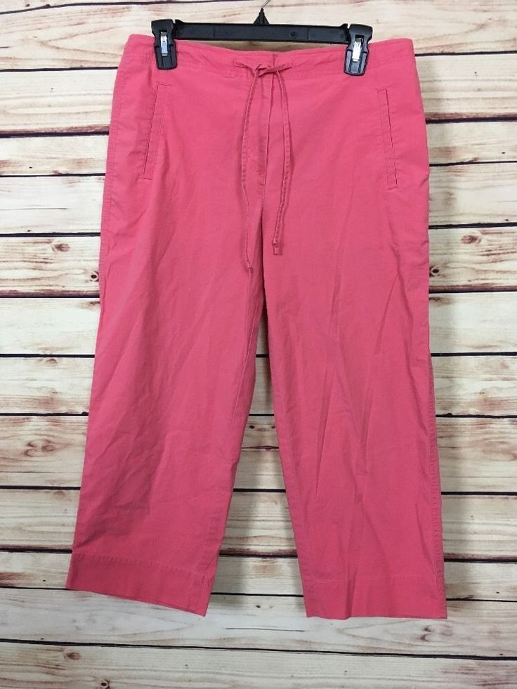 Talbots Chino Womens Pink Capri Cropped Pants Size 8P Cotton Stretch  #Talbots #CaprisCropped