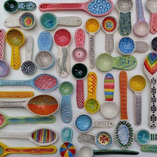 Colorful ceramic spoons